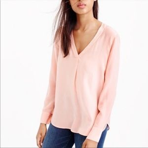J. Crew Silk Draped V-Neck Pink Blouse Size 00
